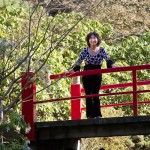 Xiaohong on Kubota Garden bridge